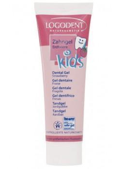 Детская гелевая зубная паста с натуральным ароматом земляники Логодент